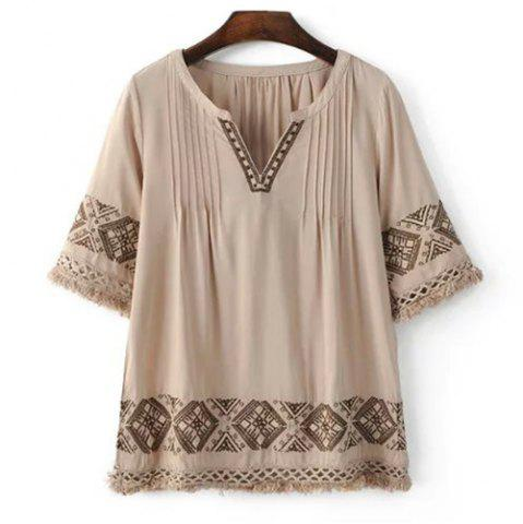 Outfits Chic Women's Embroidery V Neck Blouse LIGHT COFFEE M