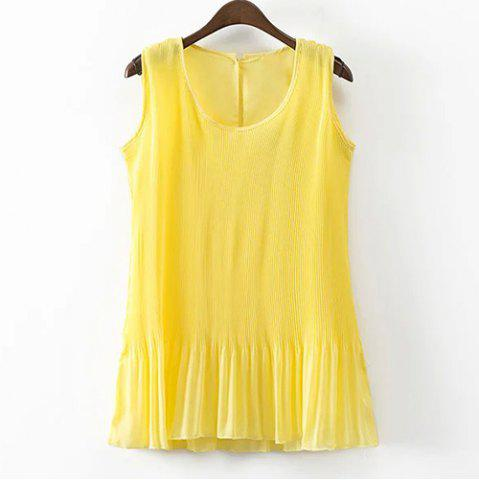Shops Round Neck Pleated Chiffon Tank Top YELLOW M