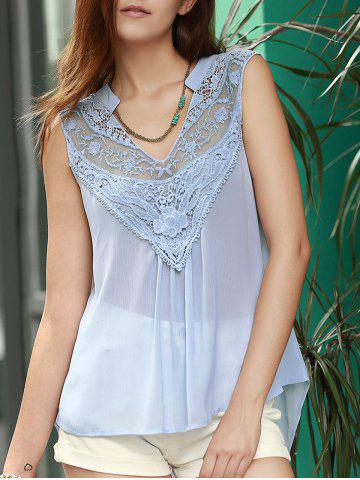 Hot Lace Trim Chiffon Flowy Tank Top LIGHT BLUE S