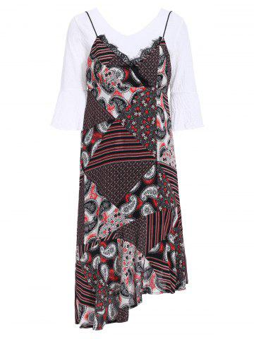Sale Chic 3/4 Sleeve White T-Shirt + Spaghetti Strap Printed Asymmetrical Dress Women's Twinset