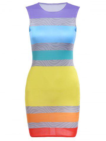 Trendy Round Collar Sleeveless Colorful Bodycon Bandage Dress COLORFUL S