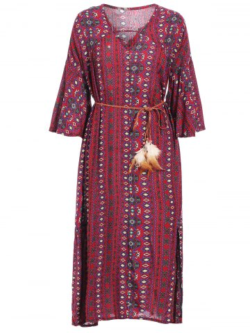 Shop Retro Style V-Neck 3/4 Sleeve Geometric Print Loose-Fitting Women's Dress