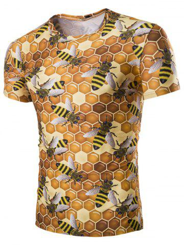 Buy Casual Hexagon Printed Short Sleeves Men's T-Shirt YELLOW M