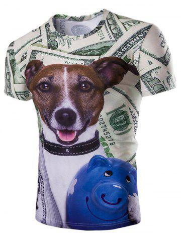Sale Casual Dog Printed Short Sleeves Men's T-Shirt COLORMIX M
