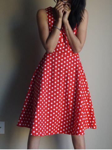 Trendy Endearing Sweetheart Neck Polka Dot Printed Sleeveless Flare Dress For Women