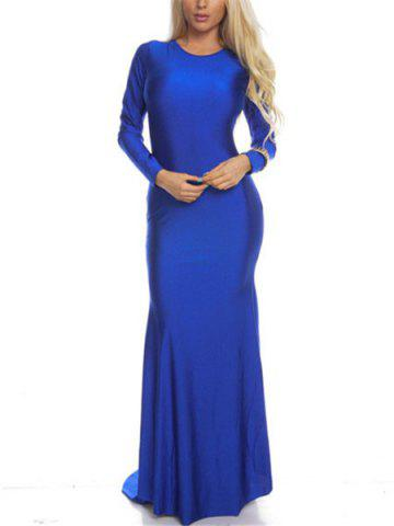 Discount Round Collar Solid Color Backless Long Sleeve Women's Maxi Dress