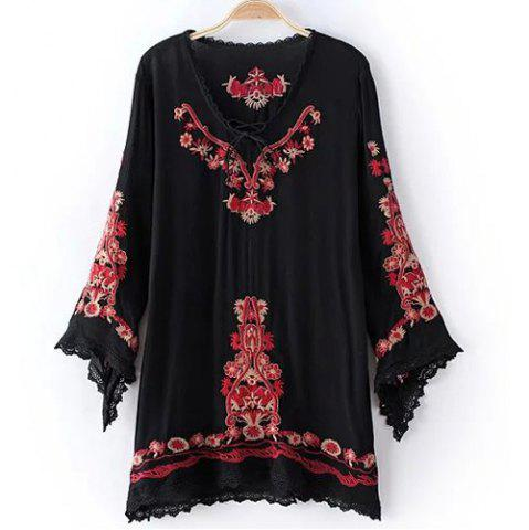 Shop Retro Long Sleeve Embroidery Embellished Lace Spliced Women's Dress