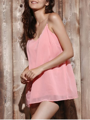 Shop Casual V Neck Pure Color Chiffon Laciness Tank Top For Women