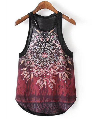 Hot Ethnic Style Jewel Neck Tribal Pattern Tank Top For Women