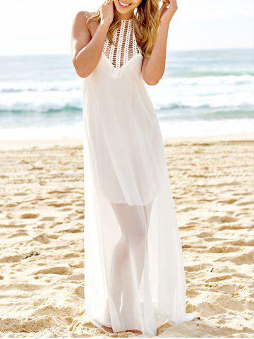 Sexy Round Neck Sleeveless Solid Color Cut Out Women's Maxi Dress - White - S