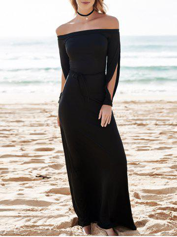 Fashion Hollow Out Casual Evening Prom Maxi Dress - M BLACK Mobile