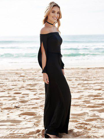 Outfit Hollow Out Casual Evening Prom Maxi Dress - M BLACK Mobile