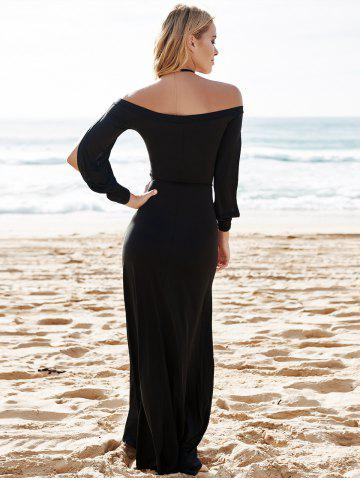 Chic Hollow Out Casual Evening Prom Maxi Dress - M BLACK Mobile