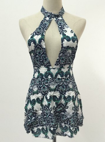 Affordable Mini Cut Out Print Open Back Dress COLORMIX 2XL