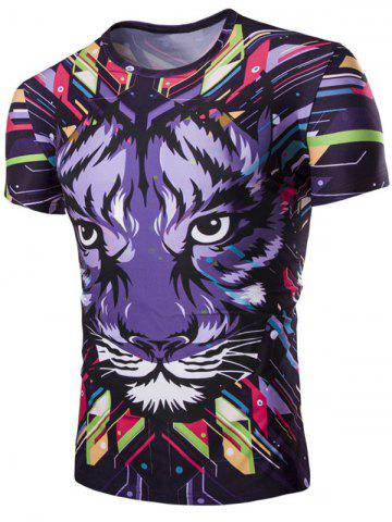 Discount 3D Tiger Print Corol Round Neck Short Sleeves T-Shirt For Men COLORMIX M