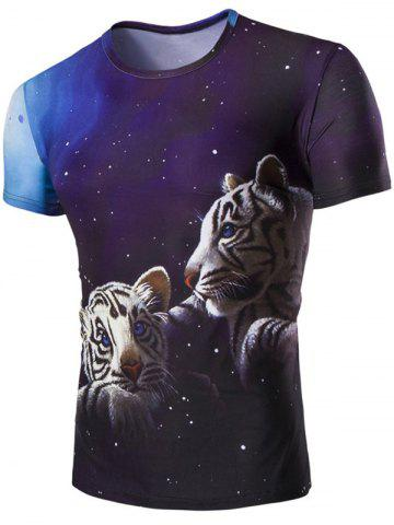 Shop 3D Tiger and Sky Print Round Neck Short Sleeves T-Shirt For Men COLORMIX M