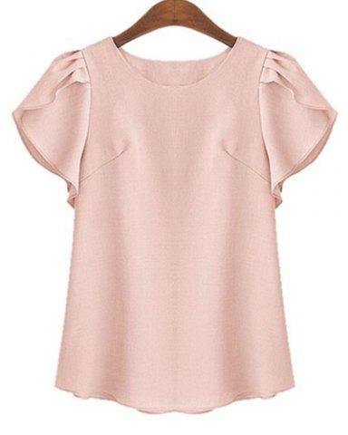 Chic Plus Size Stylish Round Neck Short Ruffled Sleeve Pure Color Women's Shirt SHALLOW PINK XL