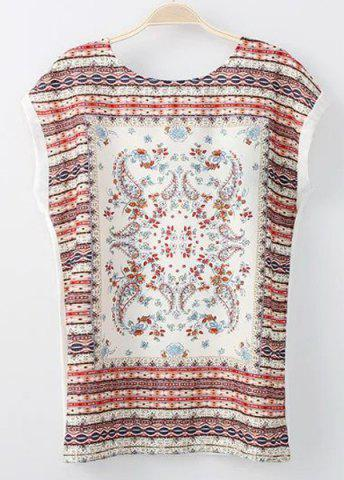 Fashion Trendy Round Collar Short Sleeves Tribal Pattern Lace-Up T-Shirt For Women WHITE S