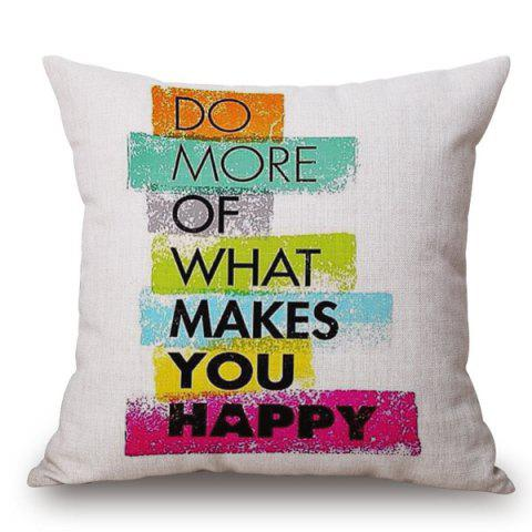 Unique Stylish Colorful English Letters Pattern Square Shape Pillowcase (Without Pillow Inner)