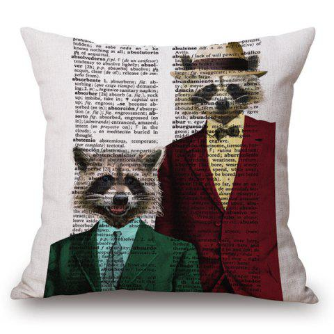 Sale Stylish Animals Mr. Raccoon Portrait Pattern Square Shape Pillowcase (Without Pillow Inner)