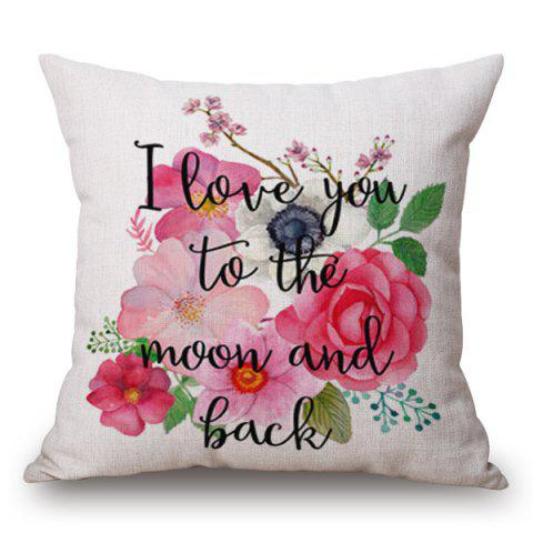 Fancy Watercolor Floral Letters Pattern Square Shape Pillowcase (Without Pillow Inner)