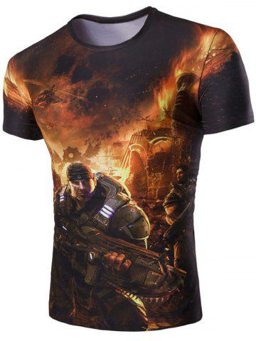 Shop 3D Soldier and Fire Print Round Neck Short Sleeves T-Shirt For Men GREEN 2XL