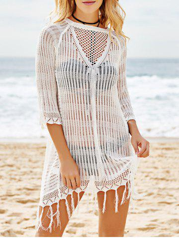 Best Scoop Neck Crochet See Through Fringe Cover Up - ONE SIZE(FIT SIZE XS TO M) WHITE Mobile