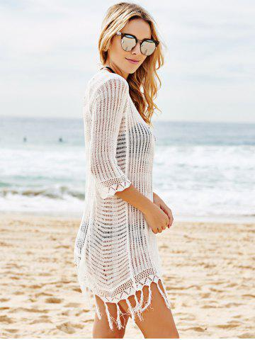 Online Scoop Neck Crochet See Through Fringe Cover Up - ONE SIZE(FIT SIZE XS TO M) WHITE Mobile