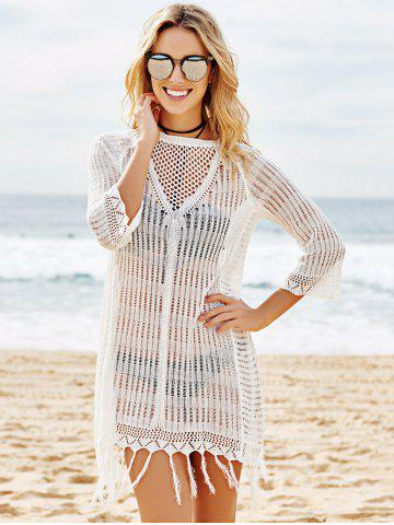 Shops Scoop Neck Crochet See Through Fringe Cover Up - ONE SIZE(FIT SIZE XS TO M) WHITE Mobile