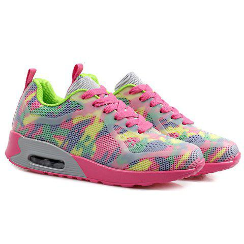 Shop Stylish Print and Mesh Design Sneakers For Women - 40 PINK + GREEN Mobile