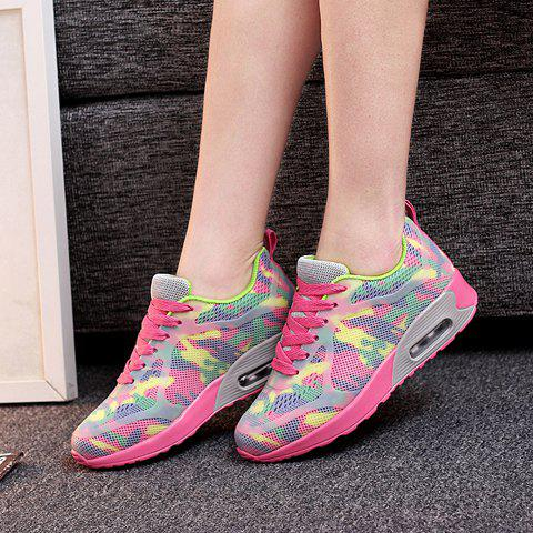 Latest Stylish Print and Mesh Design Sneakers For Women - 40 PINK + GREEN Mobile