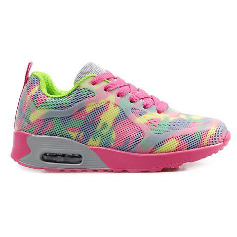 Hot Stylish Print and Mesh Design Sneakers For Women - 40 PINK + GREEN Mobile
