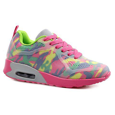 Chic Stylish Print and Mesh Design Sneakers For Women PINK + GREEN 40