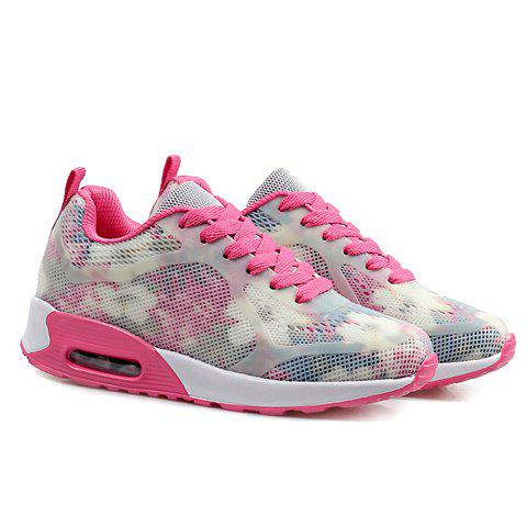 Shops Stylish Print and Mesh Design Sneakers For Women - 38 PINK AND WHITE Mobile