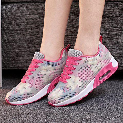 Best Stylish Print and Mesh Design Sneakers For Women - 38 PINK AND WHITE Mobile
