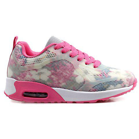 Sale Stylish Print and Mesh Design Sneakers For Women - 38 PINK AND WHITE Mobile