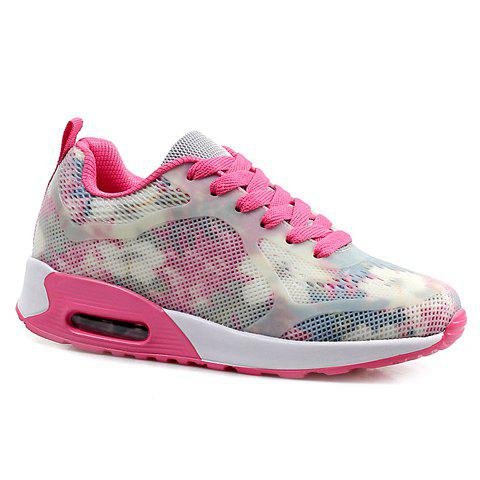 Sale Stylish Print and Mesh Design Sneakers For Women PINK AND WHITE 39