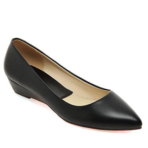 New Point Toe Flat Slip On Shoes - 34 BLACK Mobile