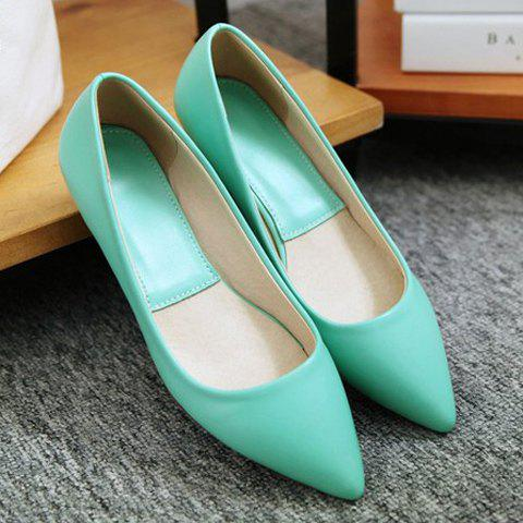 Affordable Point Toe Flat Slip On Shoes - 39 GREEN Mobile
