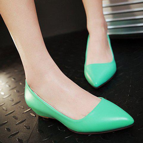 Discount Point Toe Flat Slip On Shoes - 39 GREEN Mobile