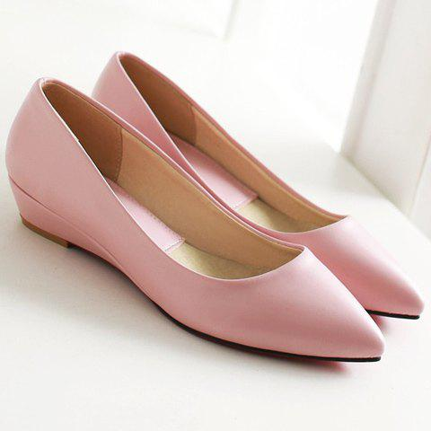 Unique Point Toe Flat Slip On Shoes - 38 PINK Mobile