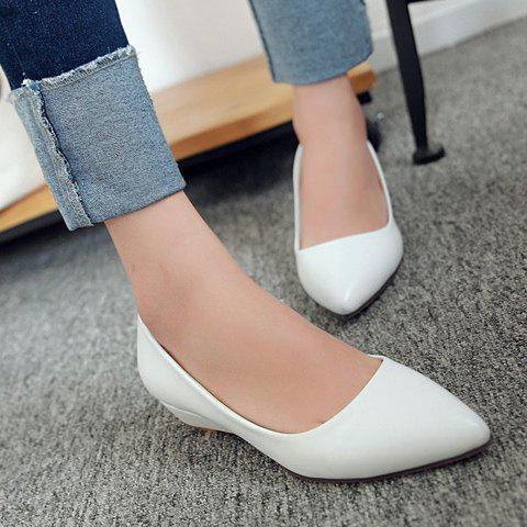 Latest Point Toe Flat Slip On Shoes - 34 WHITE Mobile