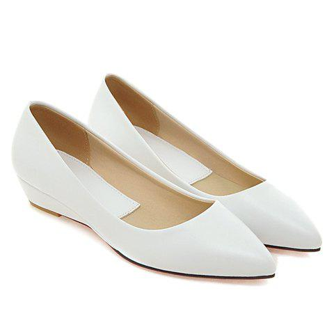 Outfits Point Toe Flat Slip On Shoes - 34 WHITE Mobile