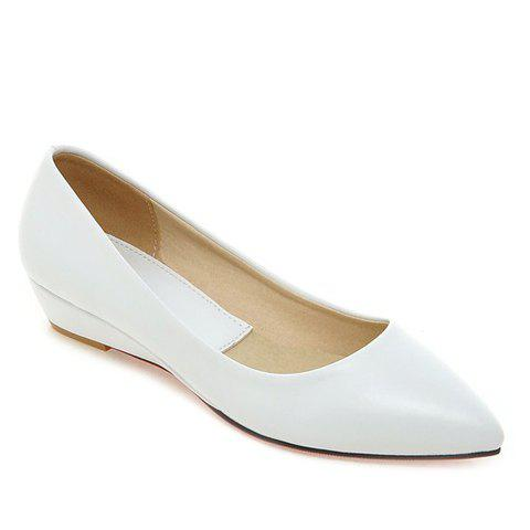 Fancy Point Toe Flat Slip On Shoes - 38 WHITE Mobile