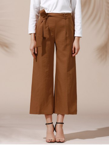 Trendy Trendy Mid Waist Solid Color Self Tie Belt Loose Ankle Length Pants For Women