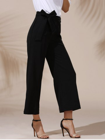 Trendy Trendy Mid Waist Solid Color Self Tie Belt Loose Ankle Length Pants For Women - L BLACK Mobile