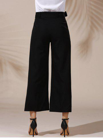 Cheap Trendy Mid Waist Solid Color Self Tie Belt Loose Ankle Length Pants For Women - L BLACK Mobile