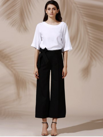 New Trendy Mid Waist Solid Color Self Tie Belt Loose Ankle Length Pants For Women - L BLACK Mobile