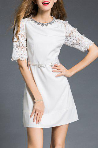 New Stand Collar Beaded Pierced Lace Sleeve Dress