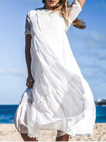 Affordable Bohemian Jewel Neck Short Sleeves Maxi Dress For Women
